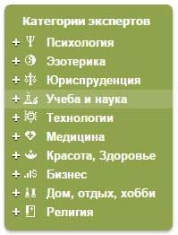 категории экспертов